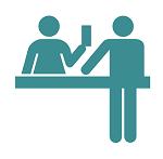 икона на консултация между пациент и фармацевт